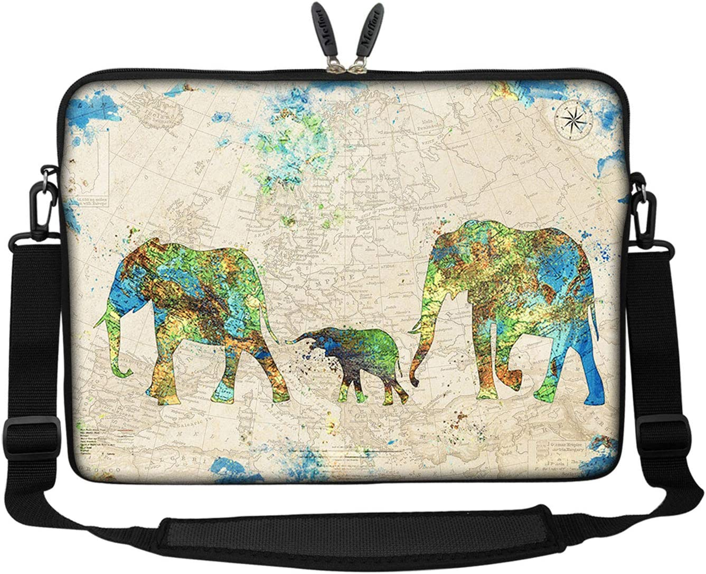 Meffort Inc 15 15.6 inch Neoprene Laptop Sleeve Bag Carrying Case with Hidden Handle and Adjustable Shoulder Strap - Family of Elephants