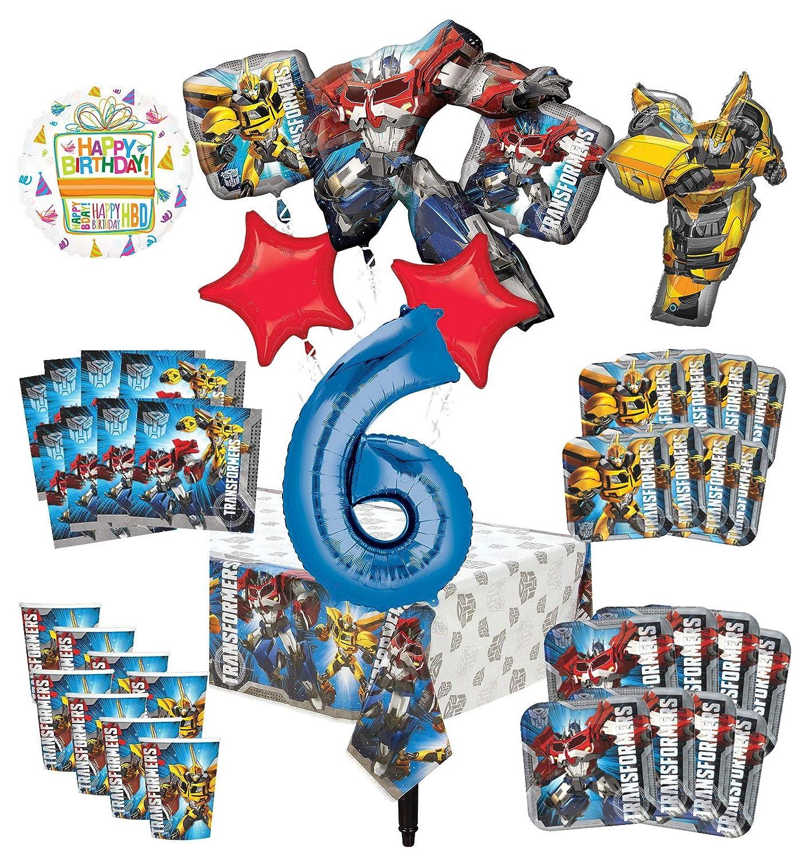 トランスフォーマー 6歳の誕生日パーティー用品 8人のゲスト用デコレーションキットとバルーンブーケ   B07RGMGPPM