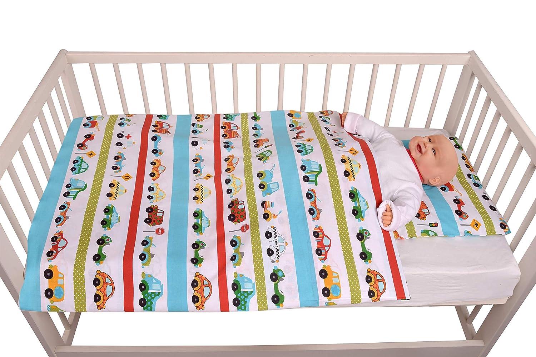 Kissen 40x60 mit verdecktem Rei/ßverschluss Babybettw/äsche Kinder Bettw/äsche Autos Zweiteilige Baumwollbettw/äsche f/ür Babybetten 100/% Baumwolle 100x135 cm