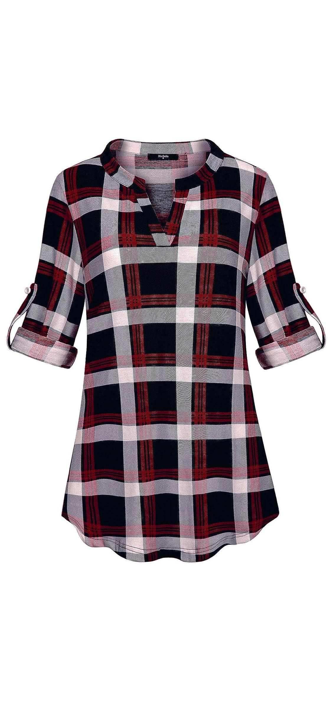 Womens / Roll Sleeve Shirt V Neck Loose Tops Plaid
