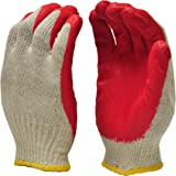 G & F Products 3106-10 String Knit Palm, Latex Dipped Nitrile Coated Work Gloves For General Purpose, 10-Pairsper Pack, Red,