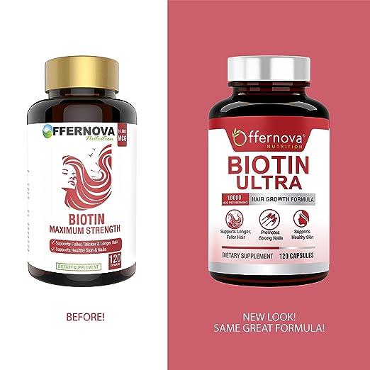Biotin Ultra - Vitaminas para el Cabello con Biotina - Pastillas para Crecimiento del Pelo y Barba | Fortalece el Pelo Piel y Unas - 120 Tabletas