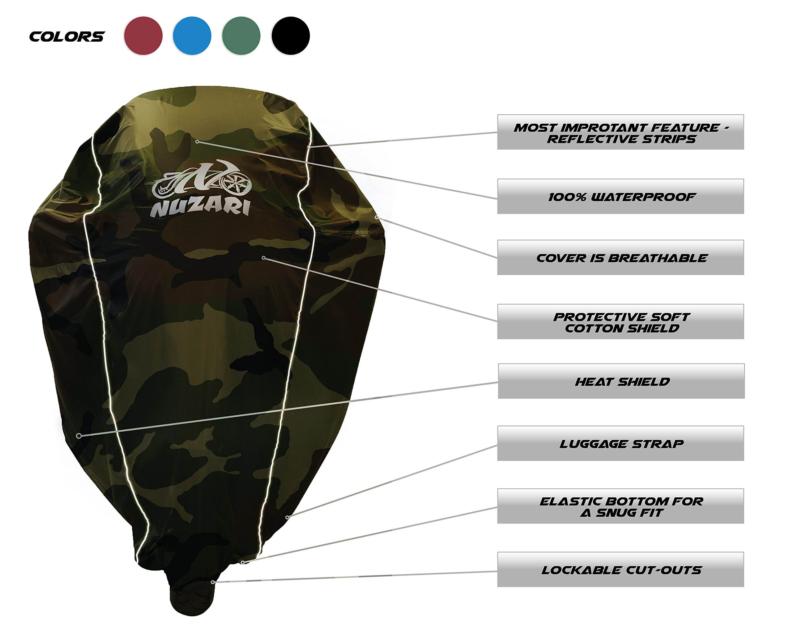 Premium Weather Resistant Covers Waterproof Polyester w/Soft Screen & Heat Resistant Shields.Motorcycle Cover has Lockable fabric, Durable & Long Lasting.Sportbikes & Cruisers (XX-Large, Camouflage) by Nuzari (Image #8)