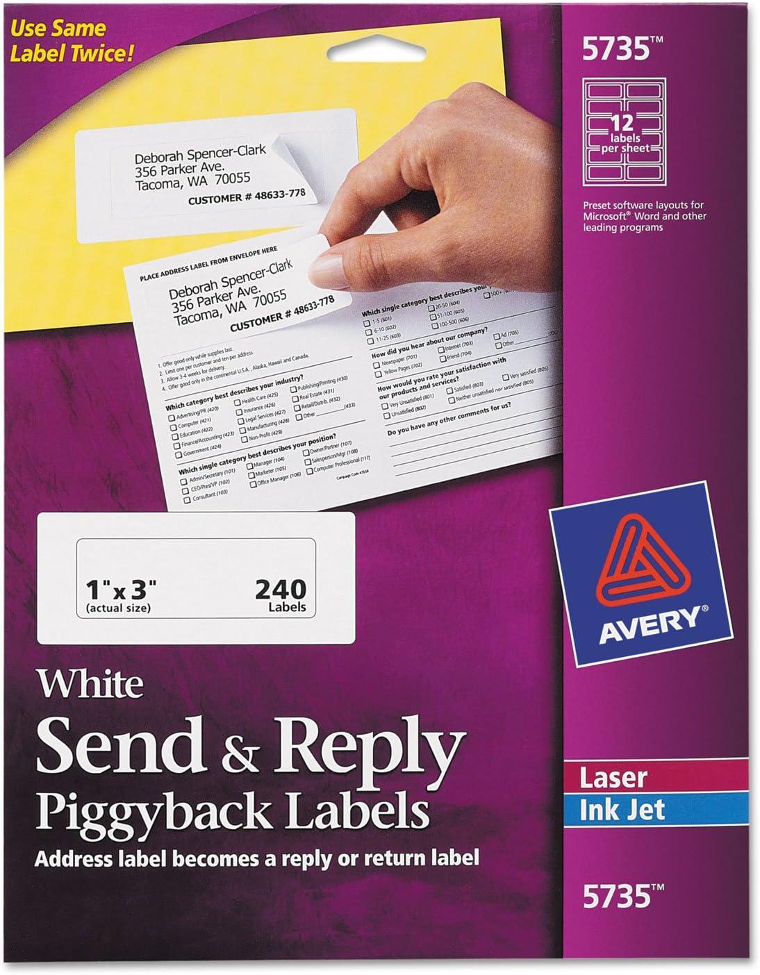 Avery 5735 Send & Reply Piggyback Inkjet/Laser Printer Labels, 1 5/8 x 4, White, 240/Pack