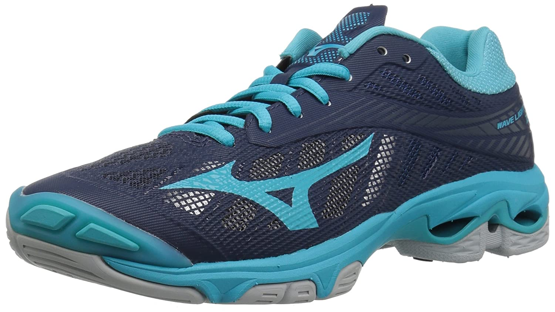 Navy Aqua bluee Mizuno Women's Wave Lightning Z4 Volleyball shoes