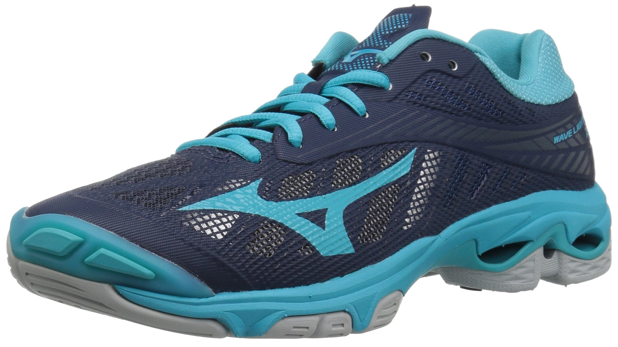 Mizuno Wave Lightning Z4 Volleyball Shoes, Navy/Aqua Blue, Women's 9.5 B US