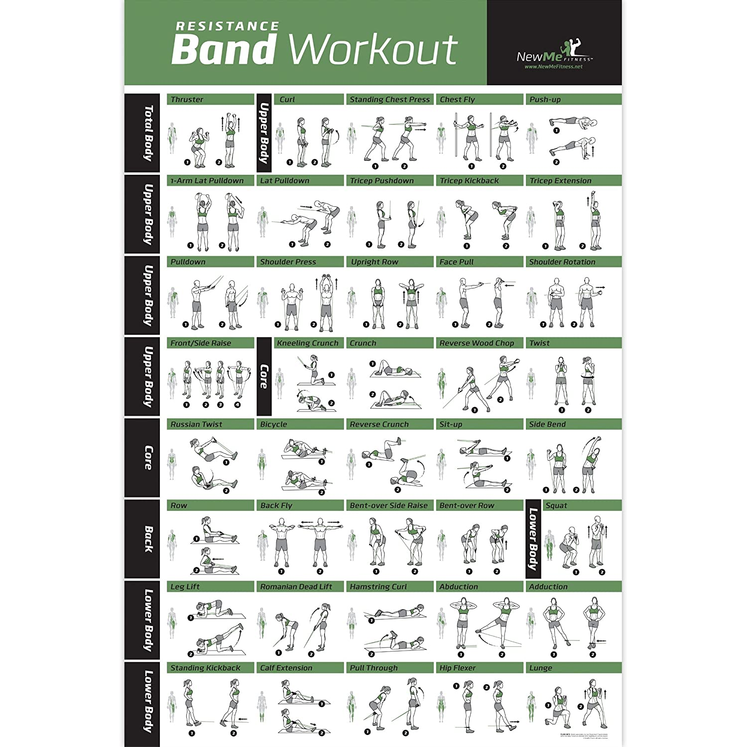Resistance Band/Tube Exercise Poster Laminated - Total Body Workout Personal Trainer Fitness Chart - Home Fitness Training Program for Elastic Rubber Tubes and Stretch Band Sets