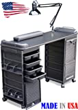 B606 Manicure Nail Table Double Lockable Cabinet Black Top by Dina Meri