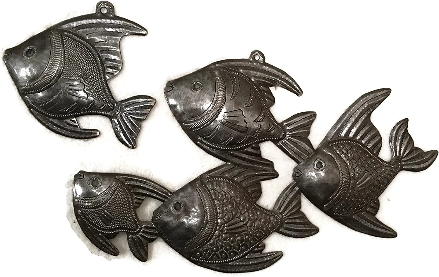 Handmade Haitian Metal Art Fish Under Water Wall Decor 14 x 8 and 5 x 5 Inches