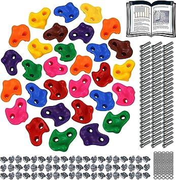 ALPIDEX Presas de Escalada para niños , Capacidad de Carga 200 kg , Material de fijación Incluido , Diferentes cantidades Multicolores - 30 Piezas