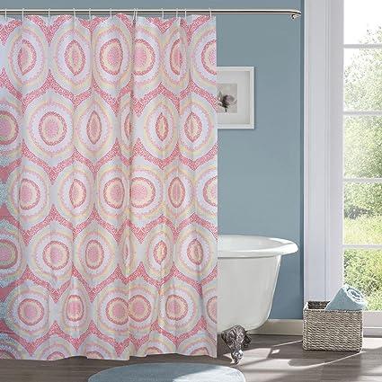 HISCIN PVC Leaf Printed Bathroom Shower Curtain 6 feet with Hooks (Multicolour, 6ft/180x180cm)