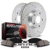 Power Stop K4713 Front Z23 Carbon Fiber Brake Pads with Drilled & Slotted Brake Rotors Kit