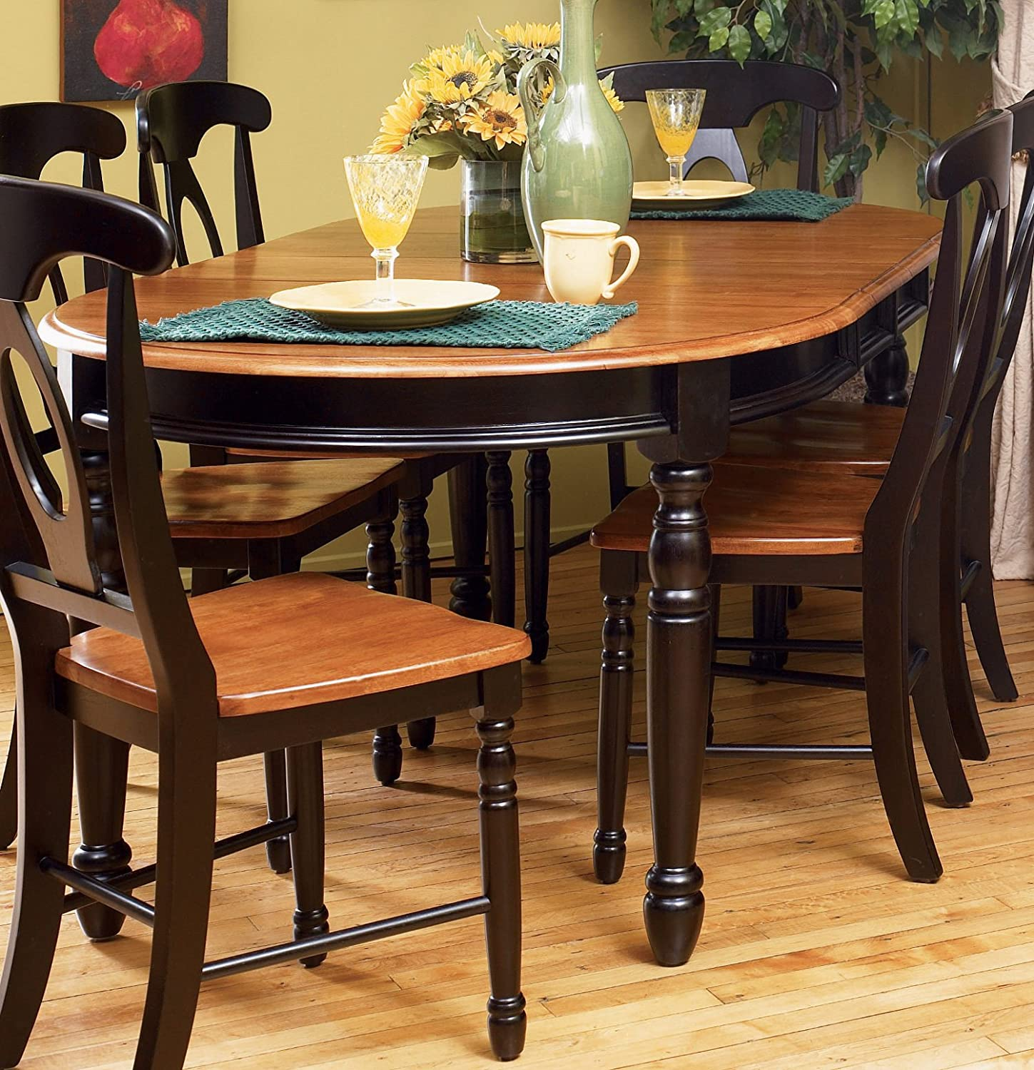 """Amazon A America British Isles 76"""" Oval Dining Table with 2"""