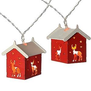 WeRChristmas, catena luminosa con casette di legno, a 10 LED, bianco caldo Renna con casa Red