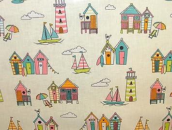 Días felices cabañas de playa Tutti Frutti PVC tela de vinilo limpiar mantel de hule mesa