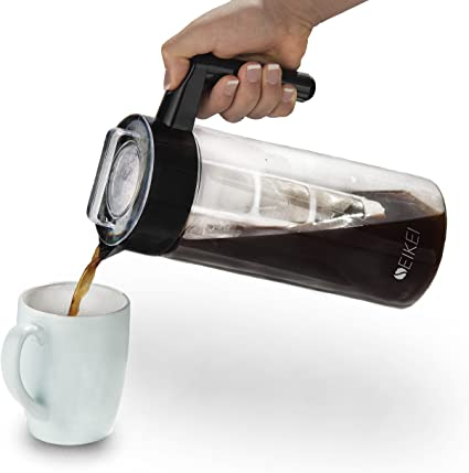 seikei Original Cold Brew cafetera eléctrica para café, té helado, y agua con infusión de frutas, jarra de cristal con filtro de café y extra filtros con infusor de frutas, 44 oz