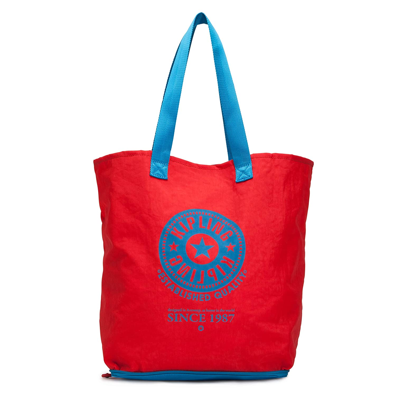 beec7faee0 Amazon.com: Kipling Women's Hip Hurray Foldable Tote Bag (Cardinal Aqua):  PORTMANTOS