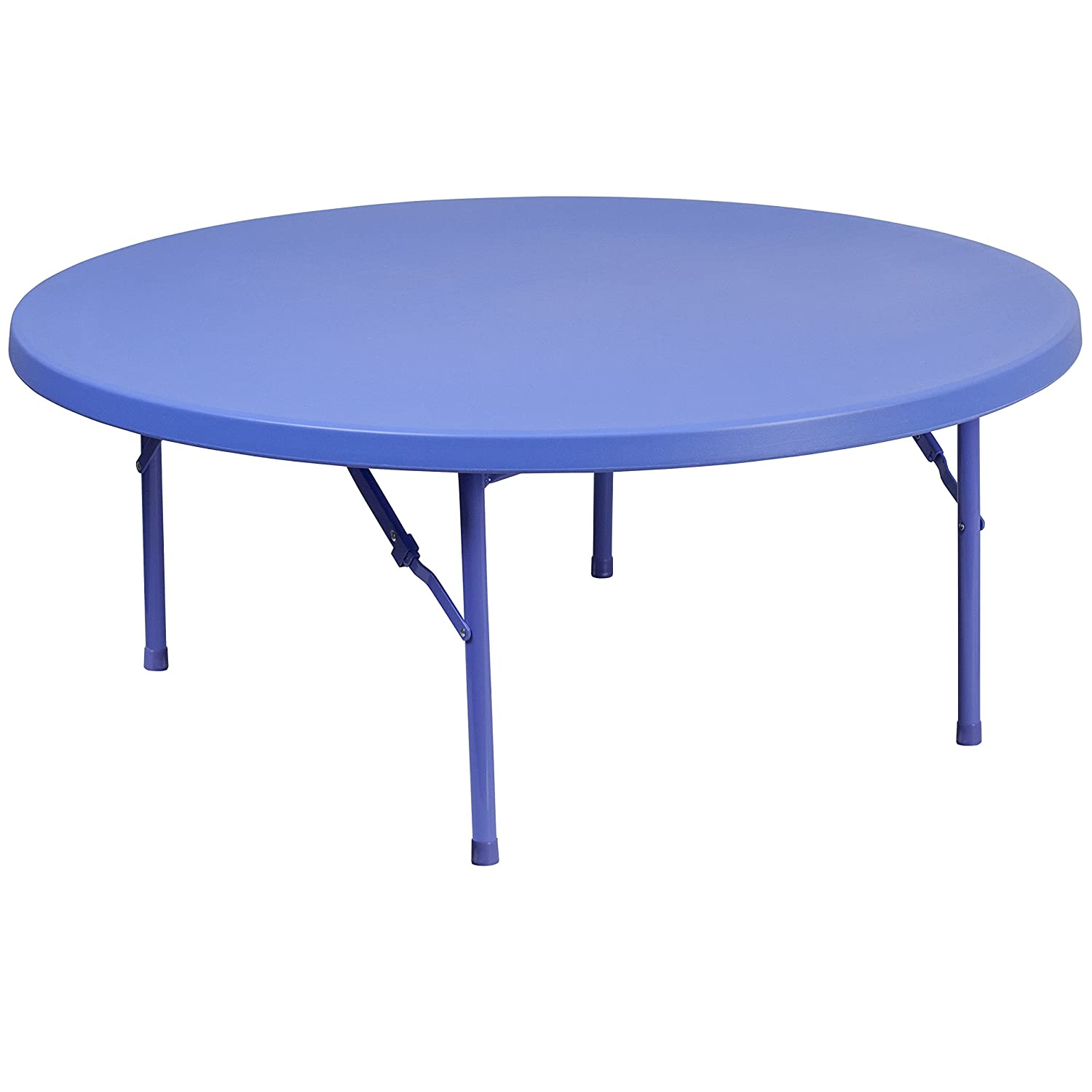 Flash Furniture 4-Foot Round Kid s Blue Plastic Folding Table