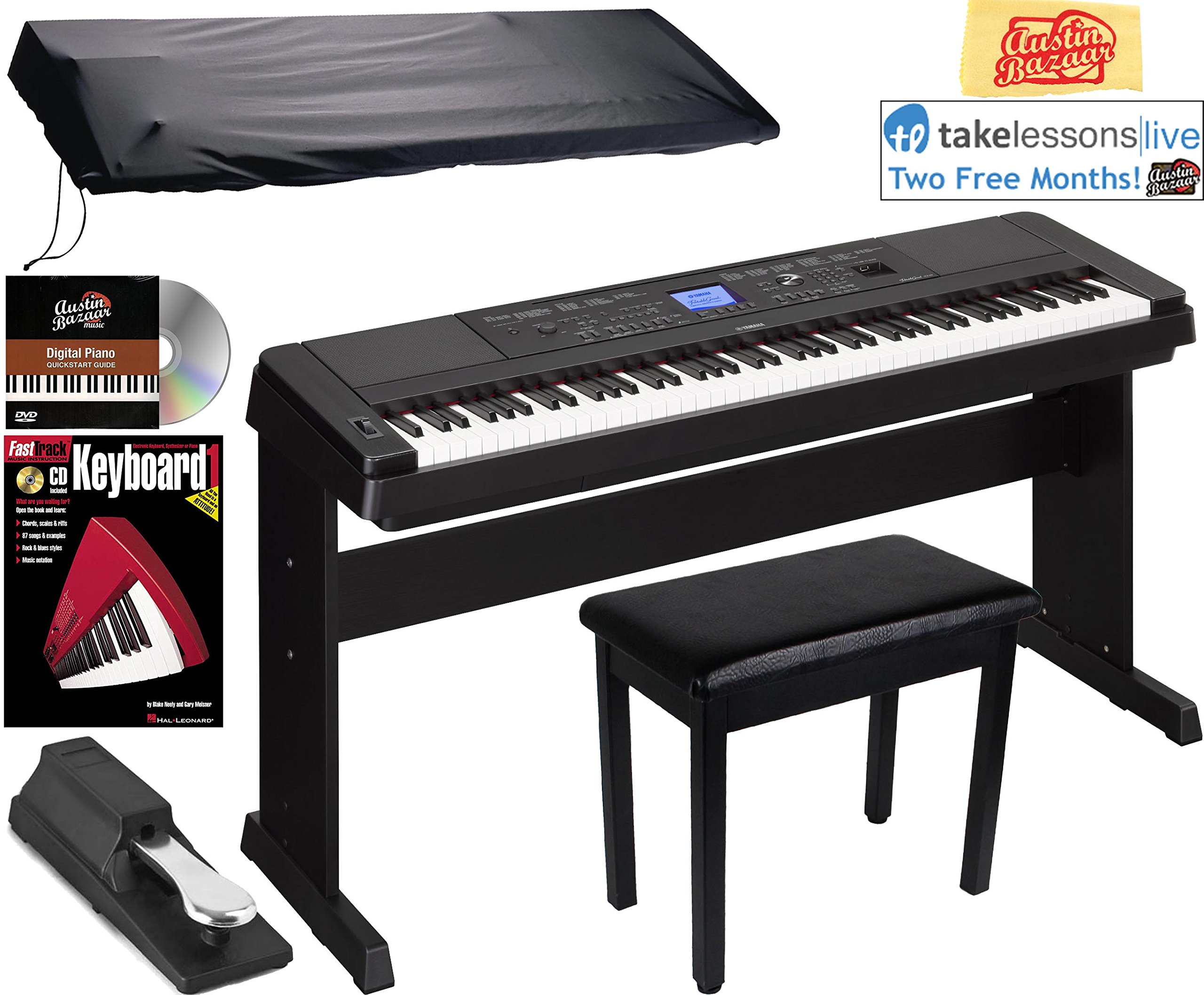 Yamaha DGX-660 Digital Piano - Black Bundle with Furniture Bench, Sustain Pedal, Dust Cover, Instructional Book, Online Lessons, Austin Bazaar Instructional DVD, and Polishing Cloth by YAMAHA