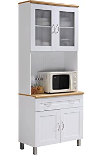 Great Hodedah Tall Standing Kitchen Cabinet With Top And Bottom Enclosed Cabinet  Space, 1 Drawer