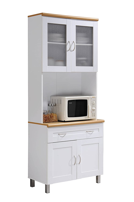 Amazon.com: HODEDAH IMPORT Hodedah Tall Standing Kitchen Cabinet ...