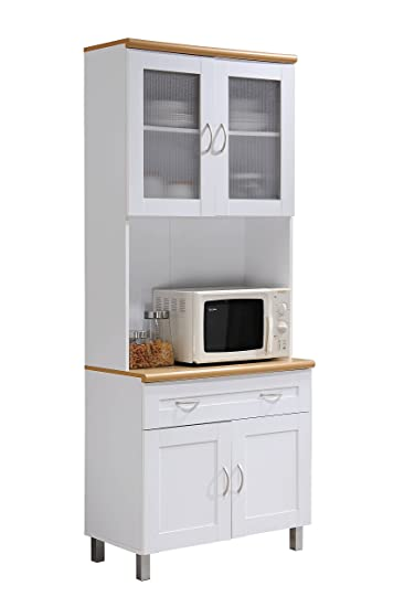 Amazing Hodedah Tall Standing Kitchen Cabinet With Top And Bottom Enclosed Cabinet  Space, 1 Drawer