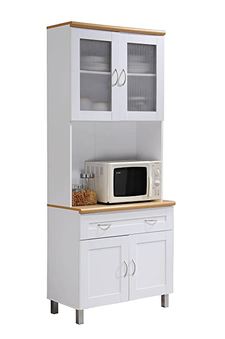 HODEDAH IMPORT Hodedah Tall Standing Kitchen Cabinet With Top And Bottom  Enclosed Cabinet Space, 1