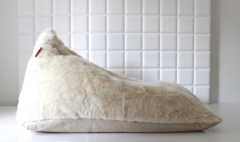 Living Conept Pouf Poire Fausse Fourrure taie d'oreiller - sac -chaise de triangle pour la détente - crème renard - chair