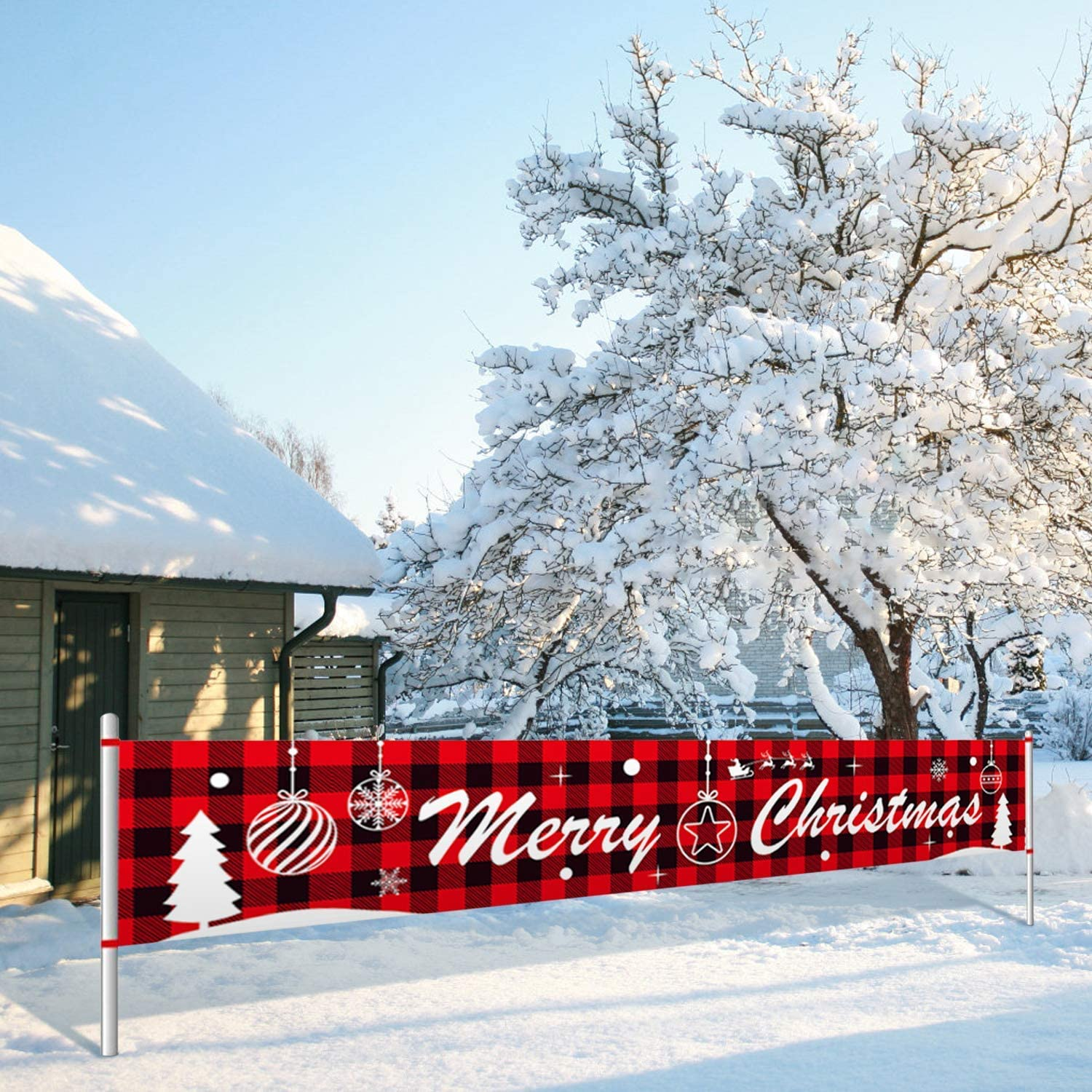 Insuwun Large Merry Christmas Banner Outdoor /& Indoor Christmas Banner Decorations with Christmas Tree Balloon Pattern for Christmas Holidays House Home Party Decor Supplies 9.8 x 1.6 FT