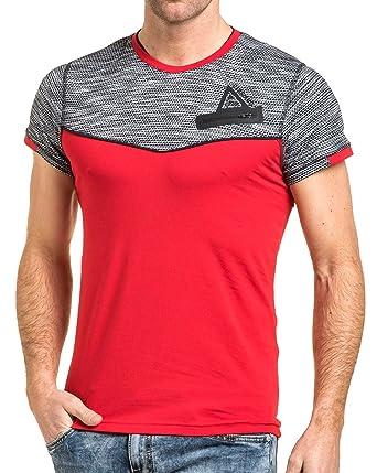 34f0aeffd675 BLZ Jeans - Tshirt Moulant Homme Rouge stylé - Couleur  Rouge - Taille  L