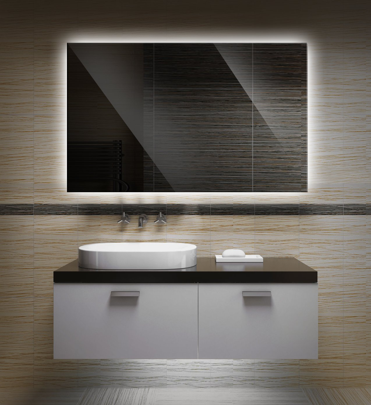 Bilderdepot24 Beleuchteter Led Spiegel Badspiegel Wandspiegel Mit