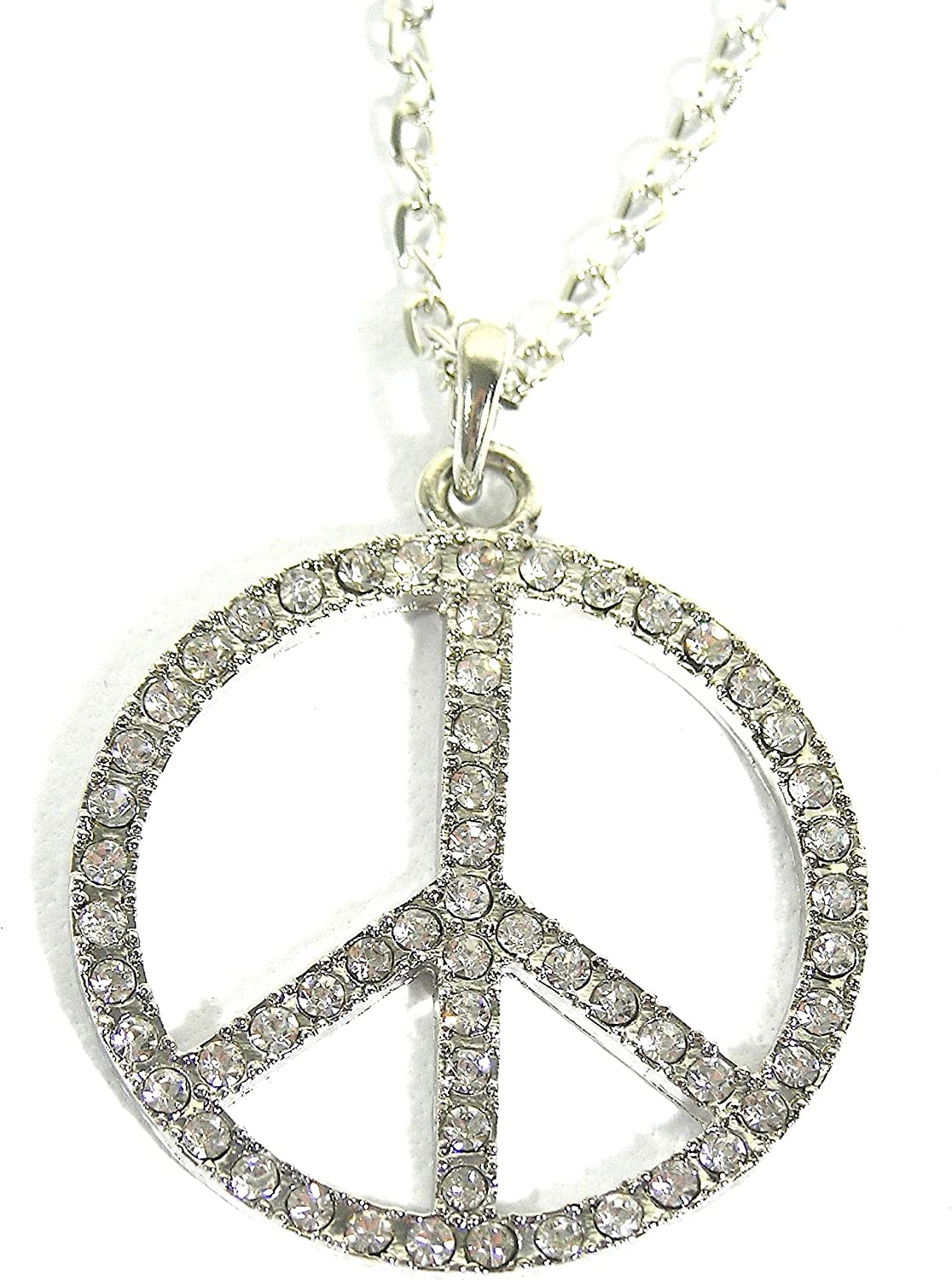 HIPPIE PEACE GLASS PENDANT NECKLACE SILVER FLOWER POWER GIFT BAG OR BOX