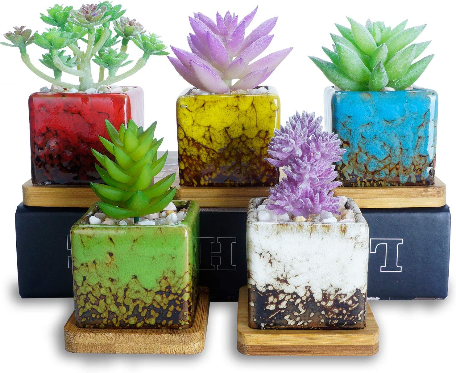 Succulent Planters, Artketty 2.1 Inch Ceramic Succulent Pots with Drainage Bamboo Tray Mini Glazed Square Garden Pots for Cactus,Flower,herb Perfect for Windowsill or Desk Set of 5