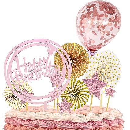 Juego de 12 decoraciones para tarta de cumpleaños con diseño ...