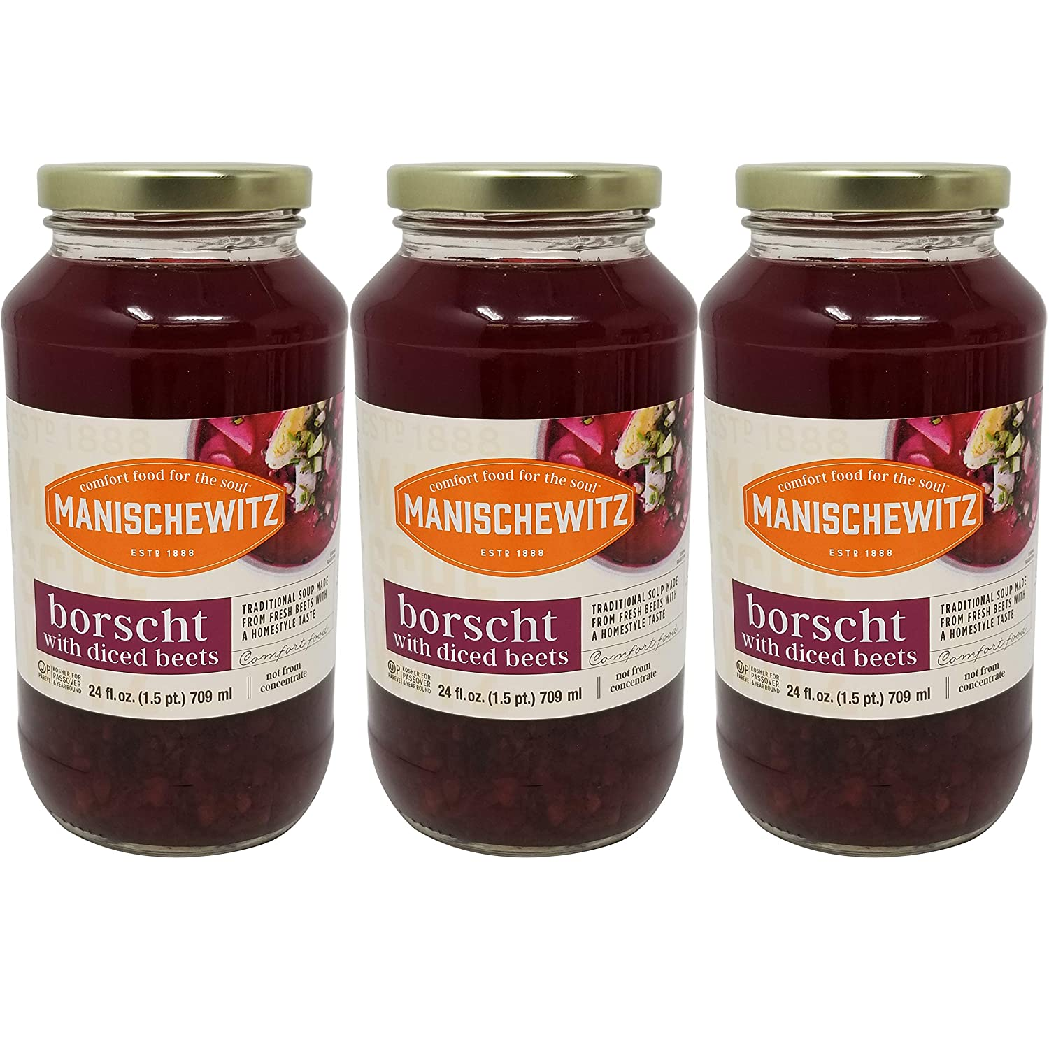 Manischewitz Borscht With Shredded Beets, Kosher For Passover, 24 Ounce Jar (Pack of 3, Total of 72 Oz)
