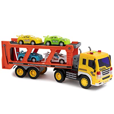 Toy To Enjoy Car Carrier Truck with Light & Sound Effects – Vehicle Transporter Trailer - Friction Powered Wheels & Four Removable Cars - Heavy Duty Plastic Vehicle Toy for Kids & Children: Toys & Games