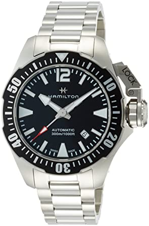 bad2282d4 Image Unavailable. Image not available for. Color: Hamilton Khaki Navy  Frogman Automatic Black Dial Mens Watch H77605135