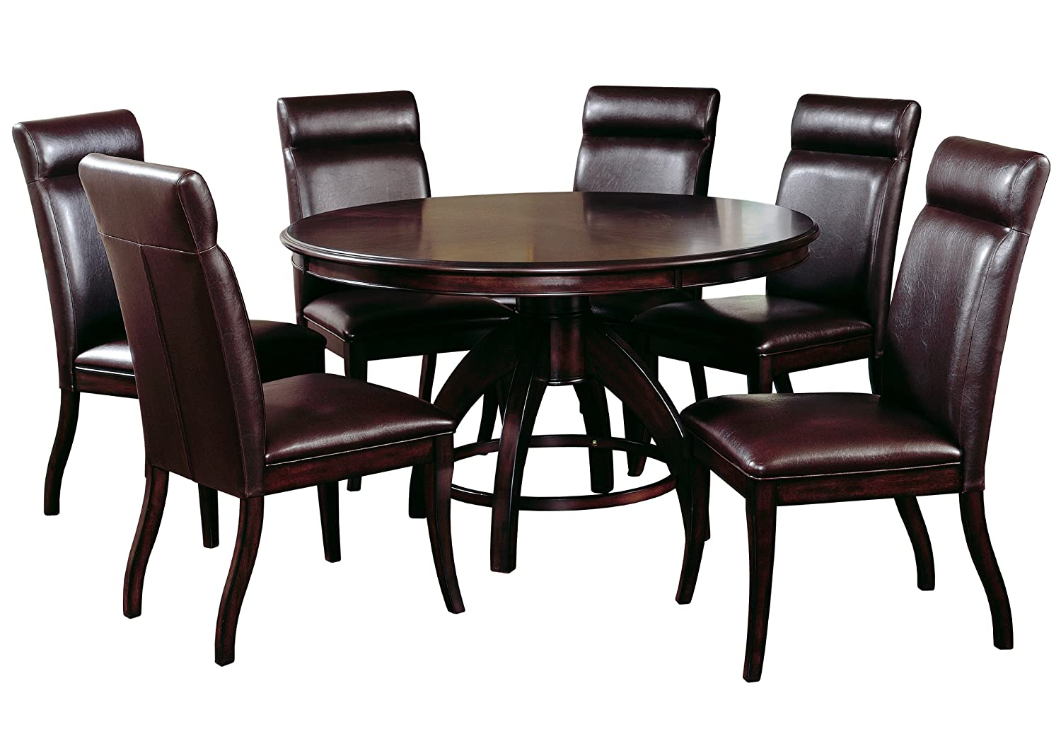 amazoncom hillsdale nottingham round 7piece dining set dark espresso set includes 1table and 6chairs table u0026 chair sets