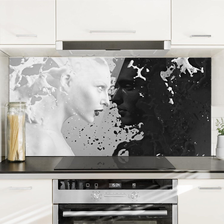 Milk /& Coffee II Bilderwelten Cr/édence en Verre Dimension: 40cm x 80cm Paysage 1:2 Peinture Murale revetement Mural Cuisine dosseret de Cuisine Impression sur Verre Fond de Cuisine