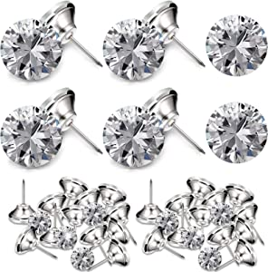 Crystal Upholstery Buttons 25 mm Crystal Upholstery Tacks Clear Crystal Head Upholstery Nails Imitate Diamond Buttons for Sewing DIY Sofa and Wall Decor (30 Pieces)