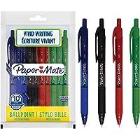 Paper Mate Alfa bolígrafos retráctiles - Punta mediana (1,0 mm), Colores surtidos de tinta, 10 unidades