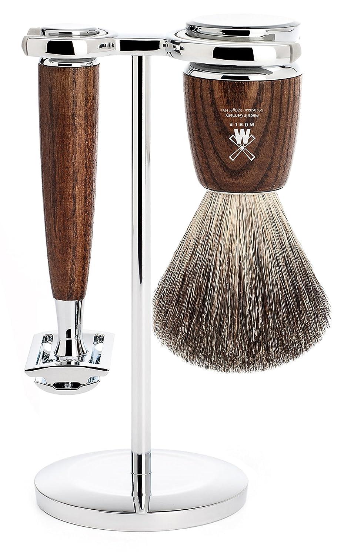 MÜHLE - 3-tlg. Set Afeitado Pelo Puro De Tejón / Maquinilla de afeitar - Serie RYTMO - Mango Madera De Fresno Oscura S 81 H 220 SR