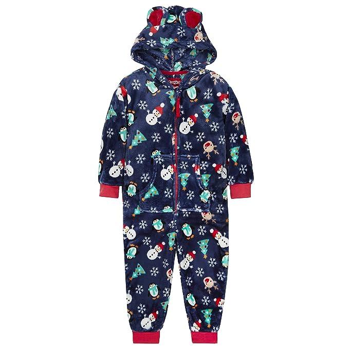 Kids Unisex Novelty Christmas Jumpsuit (Ages 2-13) Hooded Fleece Sleepsuit  PJ s 3af52715f0b