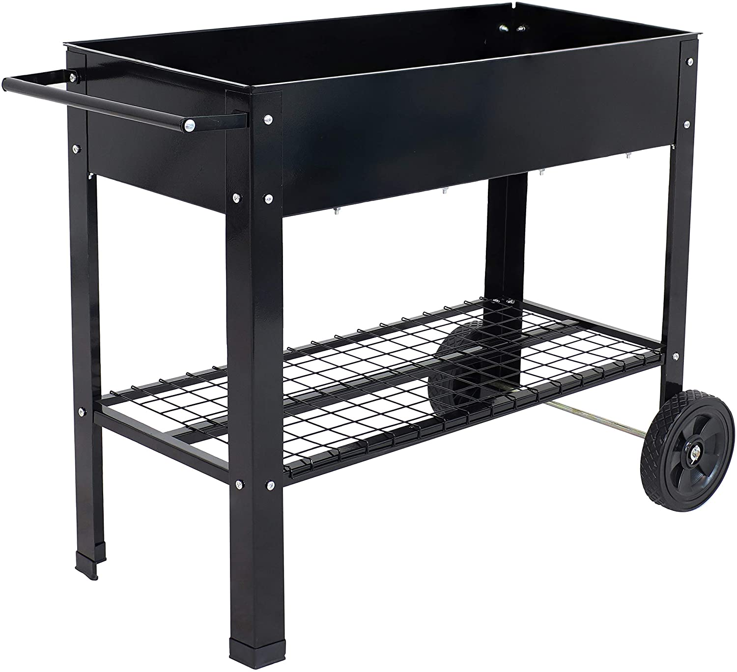 Sunnydaze Raised Garden Bed with Handlebar and Wheels - Galvanized Steel - Outdoor Mobile Elevated Planter Box Cart - 43-Inch - Grow Vegetables and Plants on The Patio, Deck, or Yard - Black
