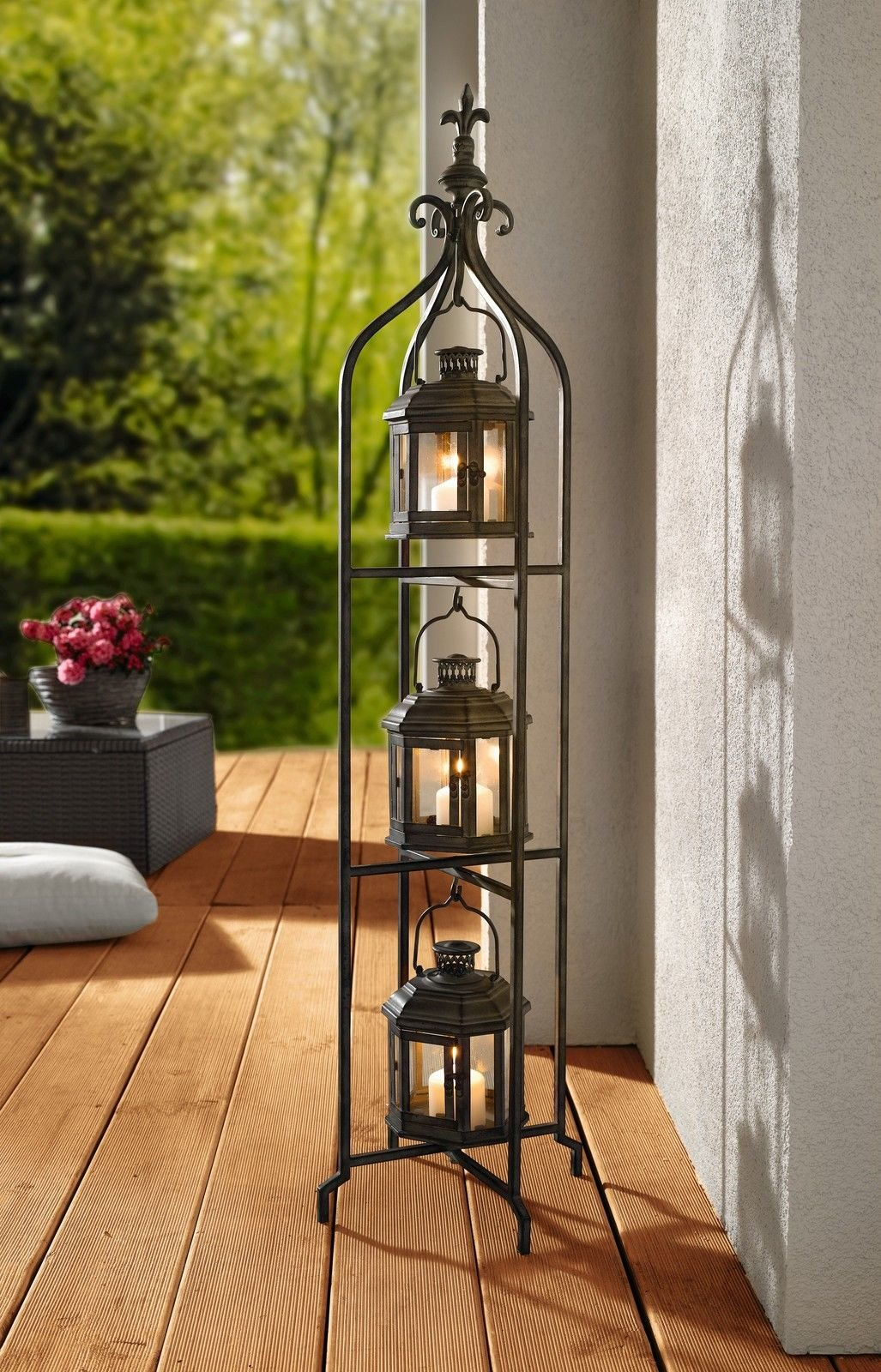 PierSurplus Metal Candle Lanterns with Stand - Three-Tier Lantern Stand for Yard Product SKU: CL221880