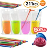 SPECIAL OFFER 105-Pcs Disposable Drink Container Set By Hawxs – Drink Pouches & Reclosable Zipper For Cold & Hot Drinks – Non-Toxic, BPA & Phthalate Free – 105 bendable straws & Funnel Included