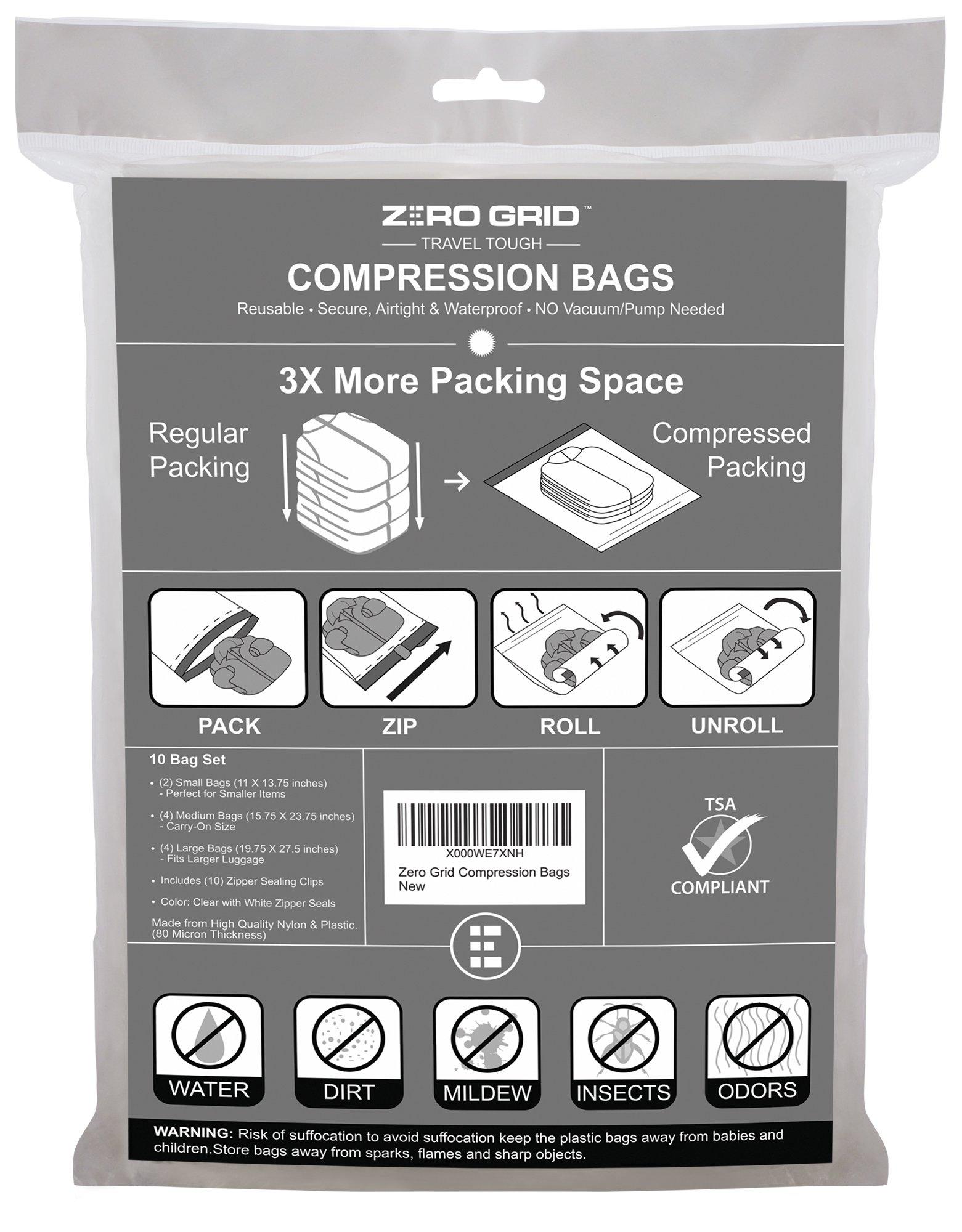 Zero Grid Travel Compression Bags - 10 Count