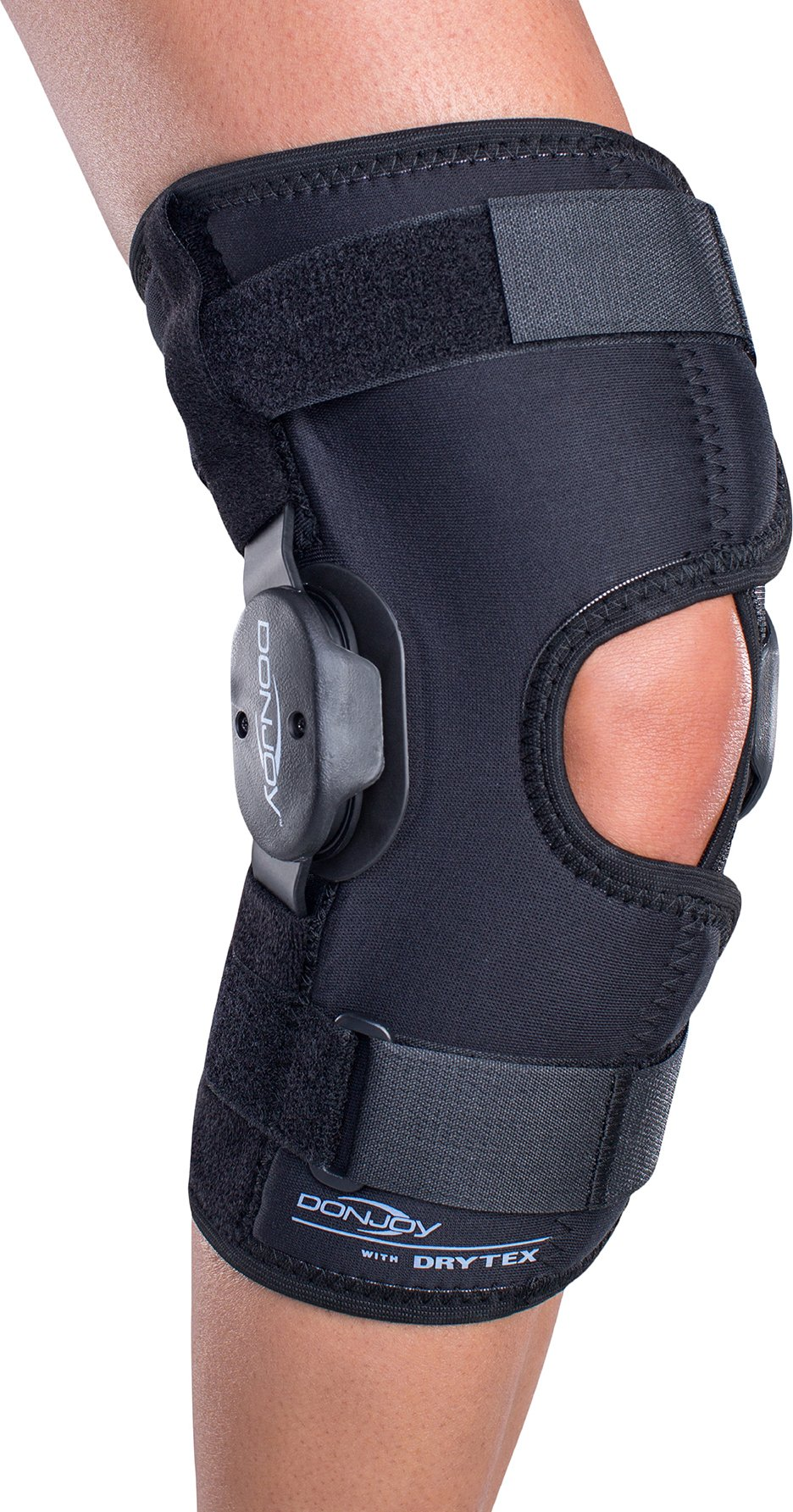 DonJoy Deluxe Hinged Knee Brace, Drytex Wrap Around, Open Popliteal, Small