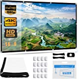 Projector Screen, Upgraded 120 inch 4K 16:9 HD Portable Projector Screen, Premium Indoor Outdoor Movie Screen Anti-Crease Projection Screen for Home Theater Backyard Movie Office Presentation