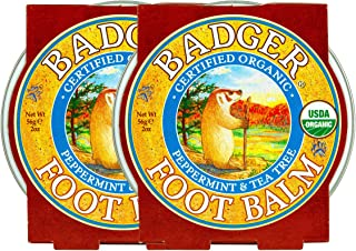 product image for Badger - Foot Balm, Peppermint & Tea Tree, Heel Balm for Dry Cracked Feet, Certified Organic, Foot Balm with Essential Oils, Extra Virgin Olive and Jojoba Oils, 2 oz (2 Pack)